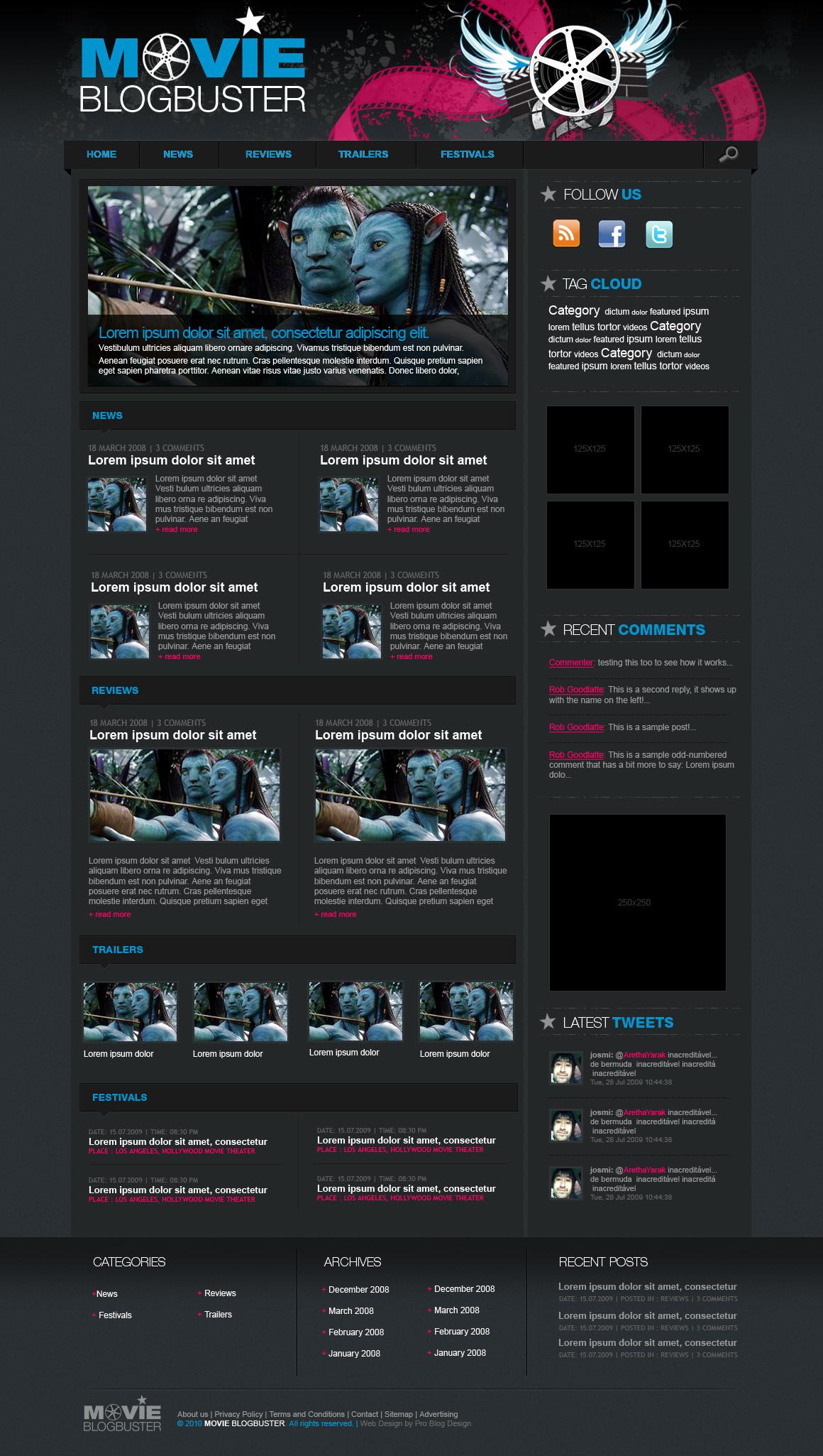 Movie Blog Buster | Pro Blog Design