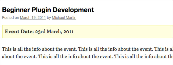 WordPress Event Post