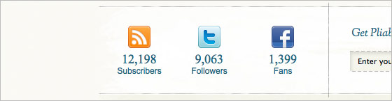 Twitter, Facebook, RSS Counts