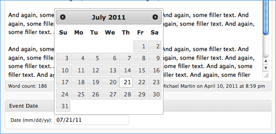 Add a jQuery DatePicker to Event Posts {WP} | Pro Blog Design